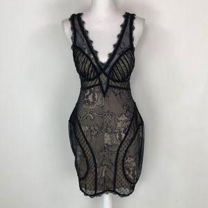 Bebe Tan & Black Lace Dress